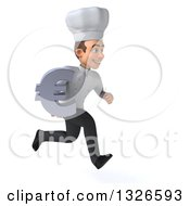 Clipart Of A 3d Young White Male Chef Sprinting To The Right And Holding A Euro Symbol Royalty Free Illustration