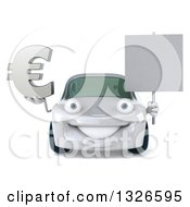 Clipart Of A 3d White Porsche Car Holding A Euro Symbol And Blank Sign Royalty Free Illustration