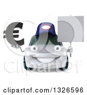 Clipart Of A 3d White Mechanic Car Holding A Euro Symbol And Blank Sign Royalty Free Illustration