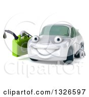 Clipart Of A 3d White Porsche Car Character Facing Slightly Left And Holding A Gas Can Royalty Free Illustration