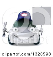 Clipart Of A 3d White Mechanic Car Holding A Wrench And Blank Sign Royalty Free Illustration