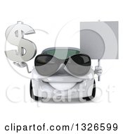 Clipart Of A 3d White Porsche Car Wearing Sunglasses Holding A Dollar Symbol And Blank Sign Royalty Free Illustration