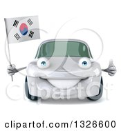 Clipart Of A 3d Happy White Porsche Car Giving A Thumb Up And Holding A South Korean Flag Royalty Free Illustration by Julos