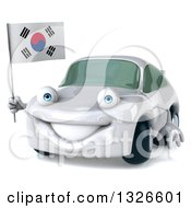 Clipart Of A 3d Happy White Porsche Car Facing Slightly Left And Holding A South Korean Flag Royalty Free Illustration by Julos