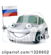 Clipart Of A 3d White Porsche Car Facing Slightly Left And Holding A Russian Flag Royalty Free Illustration by Julos