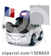Clipart Of A 3d White Mechanic Porsche Car Wearing Sunglasses Facing Slightly Left Holding A Blank Sign And French Flag Royalty Free Illustration by Julos