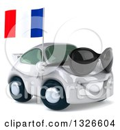 Clipart Of A 3d White Porsche Car Wearing Sunglasses Facing Right And Holding A French Flag Royalty Free Illustration by Julos