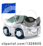 Clipart Of A 3d White Mechanic Porsche Car Facing Right Wearing Sunglasses And Holding A European Flag Royalty Free Illustration by Julos