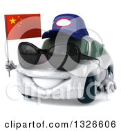 Clipart Of A 3d White Porsche Mechanic Car Wearing Sunglasses Facing Slightly Left Holding A Chinese Flag Royalty Free Illustration