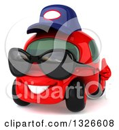Clipart Of A 3d Red Compact Mechanic Car Wearing Sunglasses Facing Slightly Left And Giving A Thumb Up Royalty Free Illustration