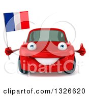 Clipart Of A 3d Red Porsche Car Giving A Thumb Up And Holding A French Flag Royalty Free Illustration by Julos