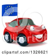Clipart Of A 3d Red Porsche Car Facing Right And Holding A European Flag Royalty Free Illustration by Julos