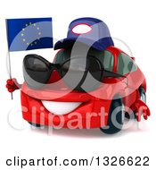 Clipart Of A 3d Red Mechanic Porsche Car Facing Slightly Left Wearing Sunglasses And Holding A European Flag Royalty Free Illustration by Julos