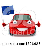 Clipart Of A 3d Red Porsche Car Facing Giving A Thumb Up And Holding A European Flag Royalty Free Illustration by Julos