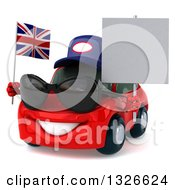 Clipart Of A 3d Red Porsche Car Mechanic Facing Slightly Left Wearing Sunglasses Holding A Blank Sign And British Flag Royalty Free Illustration
