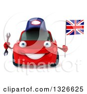 Clipart Of A 3d Red Porsche Car Mechanic Holding A Wrench And British Flag Royalty Free Illustration