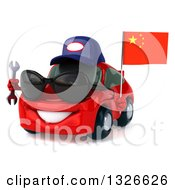 Clipart Of A 3d Red Porsche Mechanic Car Wearing Sunglasses Facing Slightly Left Holding A Wrench And A Chinese Flag Royalty Free Illustration by Julos
