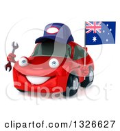 Clipart Of A 3d Red Mechanic Porche Car Facing Slightly Left Holding A Wrench And Australia Flag Royalty Free Illustration by Julos