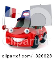 Clipart Of A 3d Red Mechanic Porsche Car Facing Slightly Left Holding A Blank Sign And French Flag Royalty Free Illustration by Julos