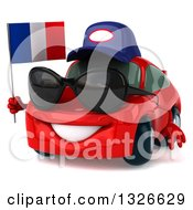 Clipart Of A 3d Red Mechanic Porsche Car Wearing Sunglasses Facing Slightly Left Holding A French Flag Royalty Free Illustration by Julos