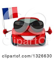Clipart Of A 3d Red Porsche Car Wearing Sunglasses Giving A Thumb Up And Holding French Flag Royalty Free Illustration by Julos