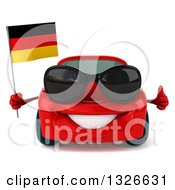 Clipart Of A 3d Red Porsche Car Wearing Sunglasses Giving A Thumb Up And Holding A German Flag Royalty Free Illustration by Julos