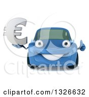 Clipart Of A 3d Blue Porsche Car Holding A Euro Currency Symbol And Giving A Thumb Up Royalty Free Illustration by Julos
