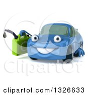 Clipart Of A 3d Blue Porsche Car Character Facing Slightly Left And Holding A Gas Can Royalty Free Illustration by Julos