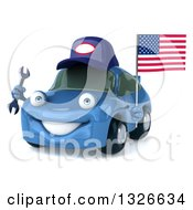 Clipart Of A 3d Blue Mechanic Porsche Car Facing Slightly Left Holding A Wrench And An American Flag Royalty Free Illustration by Julos
