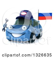 Clipart Of A 3d Blue Porsche Mechanic Car Facing Slightly Left Holding A Wrench And Russian Flag Royalty Free Illustration by Julos