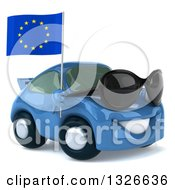 Clipart Of A 3d Blue Mechanic Porsche Car Facing Right Wearing Sunglasses And Holding A European Flag Royalty Free Illustration by Julos