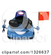 Clipart Of A 3d Blue Porsche Mechanic Car Wearing Sunglasses Holding A Wrench And A Chinese Flag Royalty Free Illustration by Julos