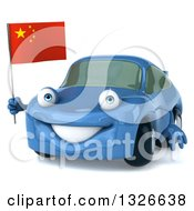 Clipart Of A 3d Blue Porsche Car Facing Slightly Left And Holding A Chinese Flag Royalty Free Illustration by Julos