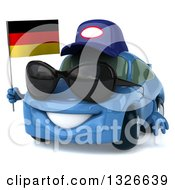 Clipart Of A 3d Blue Mechanic Porsche Car Facing Slightly Left Wearing Sunglasses And Holding A German Flag Royalty Free Illustration by Julos