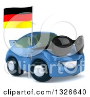 Clipart Of A 3d Blue Porsche Car Facing Slightly Right Wearing Sunglasses And Holding A German Flag Royalty Free Illustration by Julos
