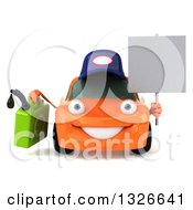Clipart Of A 3d Orange Mechanic Car Holding A Gas Can And Blank Sign Royalty Free Illustration