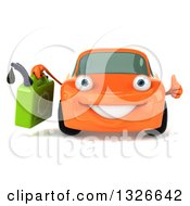 Clipart Of A 3d Orange Porsche Car Character Giving A Thumb Up And Holding A Gas Can Royalty Free Illustration