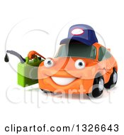 Clipart Of A 3d Orange Mechanic Car Holding A Gas Can Facing Slightly Left Royalty Free Illustration
