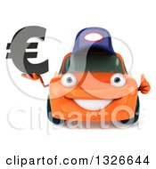 Clipart Of A 3d Orange Mechanic Car Giving A Thumb Up And Holding A Euro Symbol Royalty Free Illustration