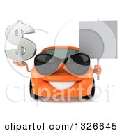 Clipart Of A 3d Orange Car Wearing Sunglasses Holding A Dollar Symbol And Blank Sign Royalty Free Illustration