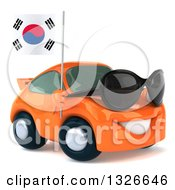 Clipart Of A 3d Happy Orange Porsche Car Wearing Sunglasses Facing Right And Holding A South Korean Flag Royalty Free Illustration