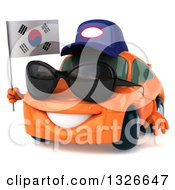 Clipart Of A 3d Happy Orange Porsche Car Mechanic Wearing Sunglasses Facing Slightly Left And Holding A South Korean Flag Royalty Free Illustration by Julos