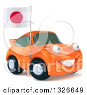 Clipart Of A 3d Orange Porsche Car Facing Slightly Right And Holding A Japanese Flag Royalty Free Illustration by Julos