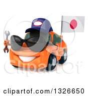 Clipart Of A 3d Orange Porsche Mechanic Car Wearing Sunglasses Facing Slightly Left Holding A Wrench And A Japanese Flag Royalty Free Illustration by Julos
