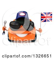 Clipart Of A 3d Orange Porsche Car Mechanic Wearing Sunglasses Holding A Wrench And British Flag Royalty Free Illustration by Julos