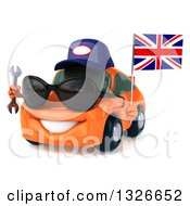 Clipart Of A 3d Orange Porsche Car Mechanic Wearing Sunglasses Facing Slightly Left Holding A Wrench And British Flag Royalty Free Illustration by Julos