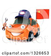 Clipart Of A 3d Orange Porsche Mechanic Car Facing Slightly Left Holding A Wrench And A Chinese Flag Royalty Free Illustration by Julos