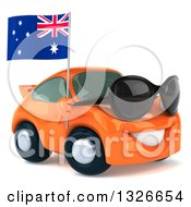 Clipart Of A 3d Orange Porche Car Wearing Sunglasses Facing Right And Holding An Australia Flag Royalty Free Illustration by Julos
