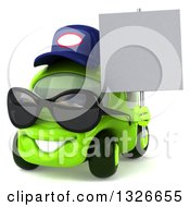Clipart Of A 3d Bespectacled Lime Green Compact Car Mechanic Facing Slightly Left Wearing Sunglasses And Holding A Blank Sign Royalty Free Illustration
