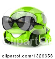 Clipart Of A 3d Green Compact Car Wearing Sunglasses Facing Slightly Left Royalty Free Illustration
